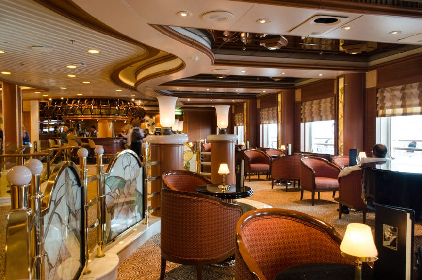 Back onboard the soothing Star Princess. Shown here is Crooner's Lounge on Deck 7...Photo © 2015 Aaron Saunders
