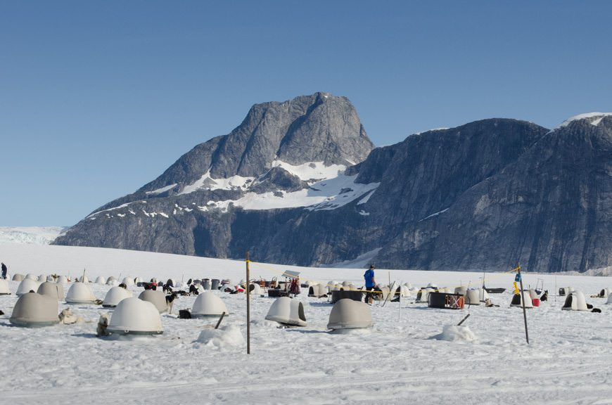 The dog-mushing camp on Norris Glacier is here during the summer season. Due to the melting snowpack, our guides explained they'd have to move the entire camp further to the west in about two weeks' time. Photo © 2015 Aaron Saunders