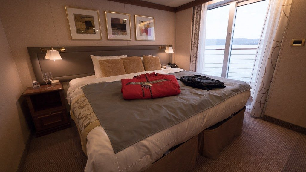 Bedroom in suite 704 on Silver Explorer. ©2015 Ralph Grizzle
