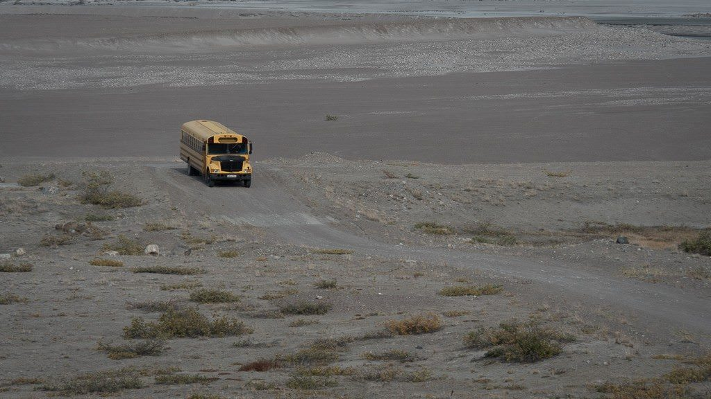 Until it broke down, a Thomas school bus was our transportation to Silver Explorer, about 15 minutes from Kangerlussuaq Airport. ©2015 Ralph Grizzle