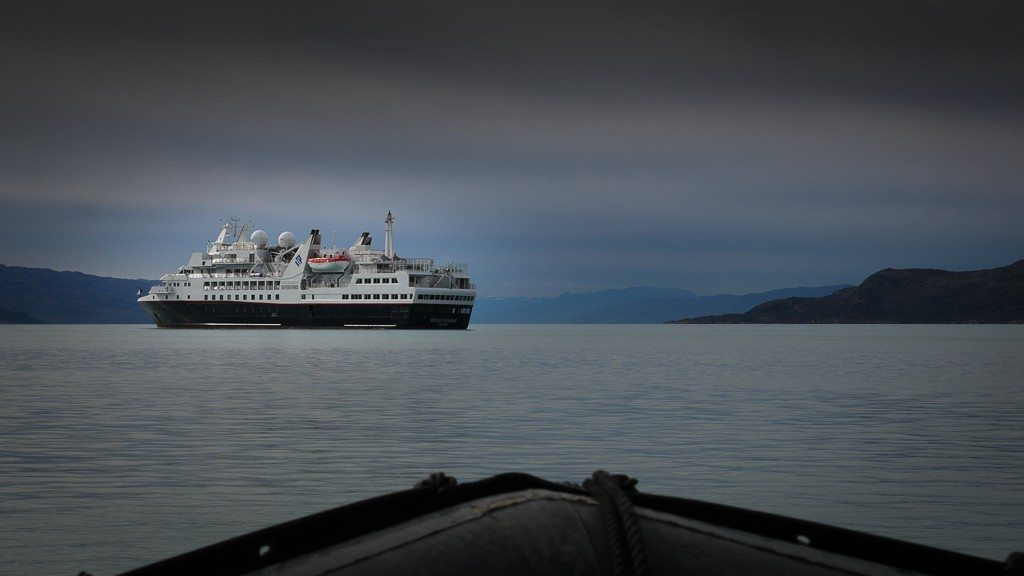 Silver Explorer anchored in Kangerlussuaq fjord. ©2015 Ralph Grizzle