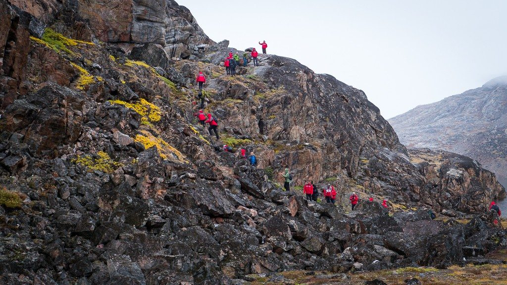 A strenuous hike uphill in Uummannaq. ©2015 Ralph Grizzle