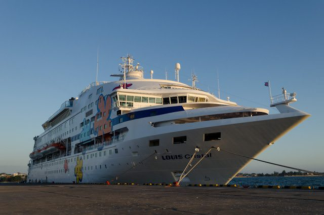 Celestyal Cruises' Louis Crystal, shown here in her seasonal Cuba Cruise livery in Cienfuegos, Cuba, is a great blend of big-ship amenities in a small ship package. Photo © 2014 Aaron Saunders