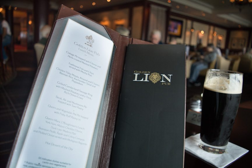 There's an extensive food and beer menu available at the Golden Lion on Deck 2...Photo © 2015 Aaron Saunders
