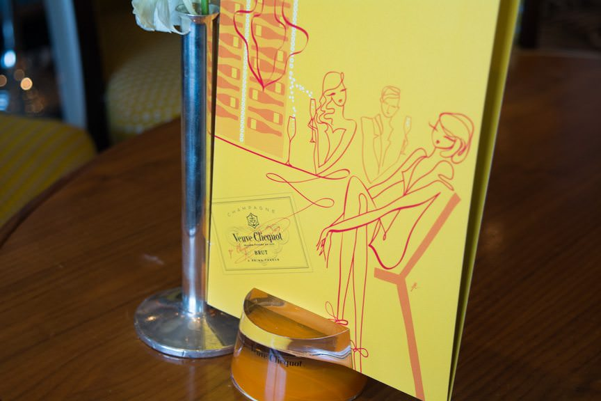 Branding at the Veuve Cliquot Champagne Bar has been well-thought-out. Menus and decor reflect the Veuve color palette. Photo © 2015 Aaron Saunders