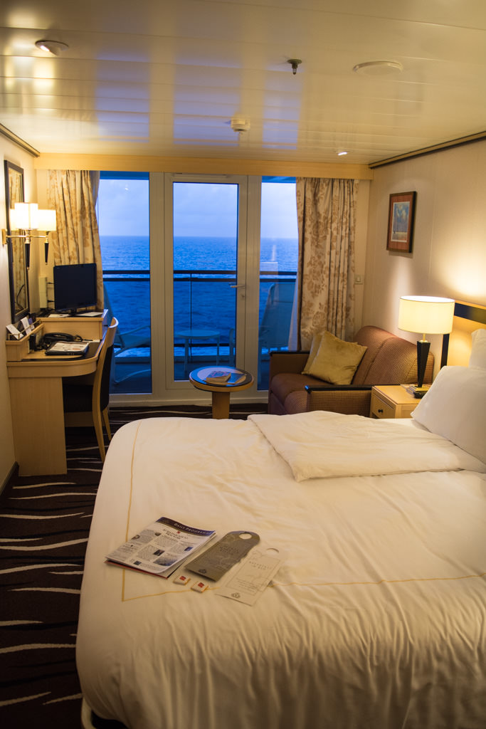 A standard Britannia Balcony Stateroom aboard Queen Mary 2. Photo © 2015 Aaron Saunders