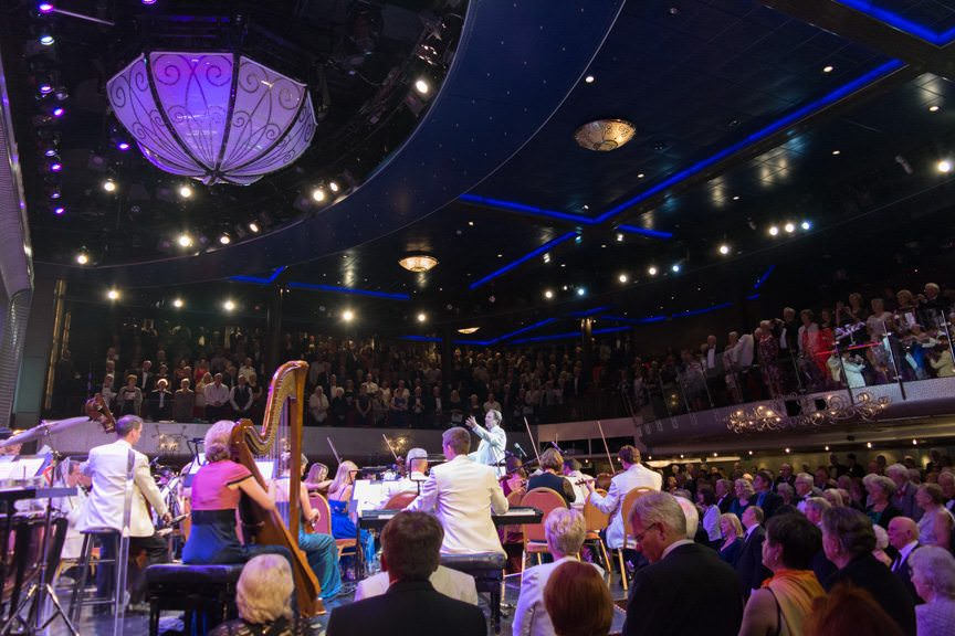 Conductor Anthony Inglis and the National Symphony Orchestra perform aboard Cunard's Queen Mary 2. Photo © 2015 Aaron Saunders