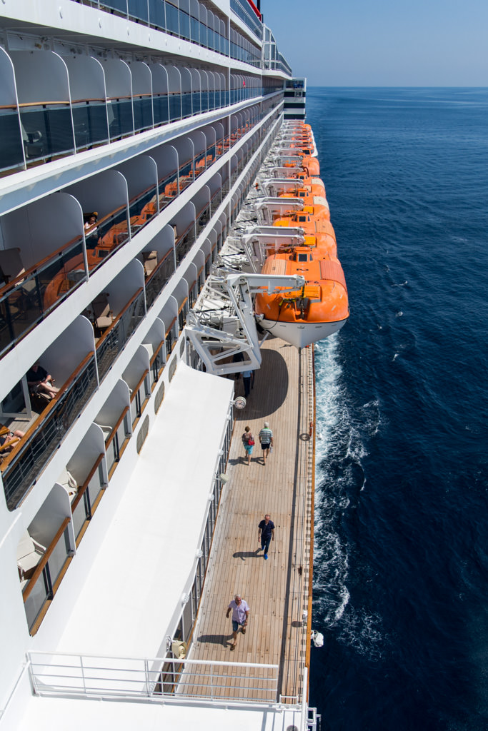 The view from Queen Mary 2's port-side bridge wing, from the viewing area on Deck 11. Photo © 2015 Aaron Saunders