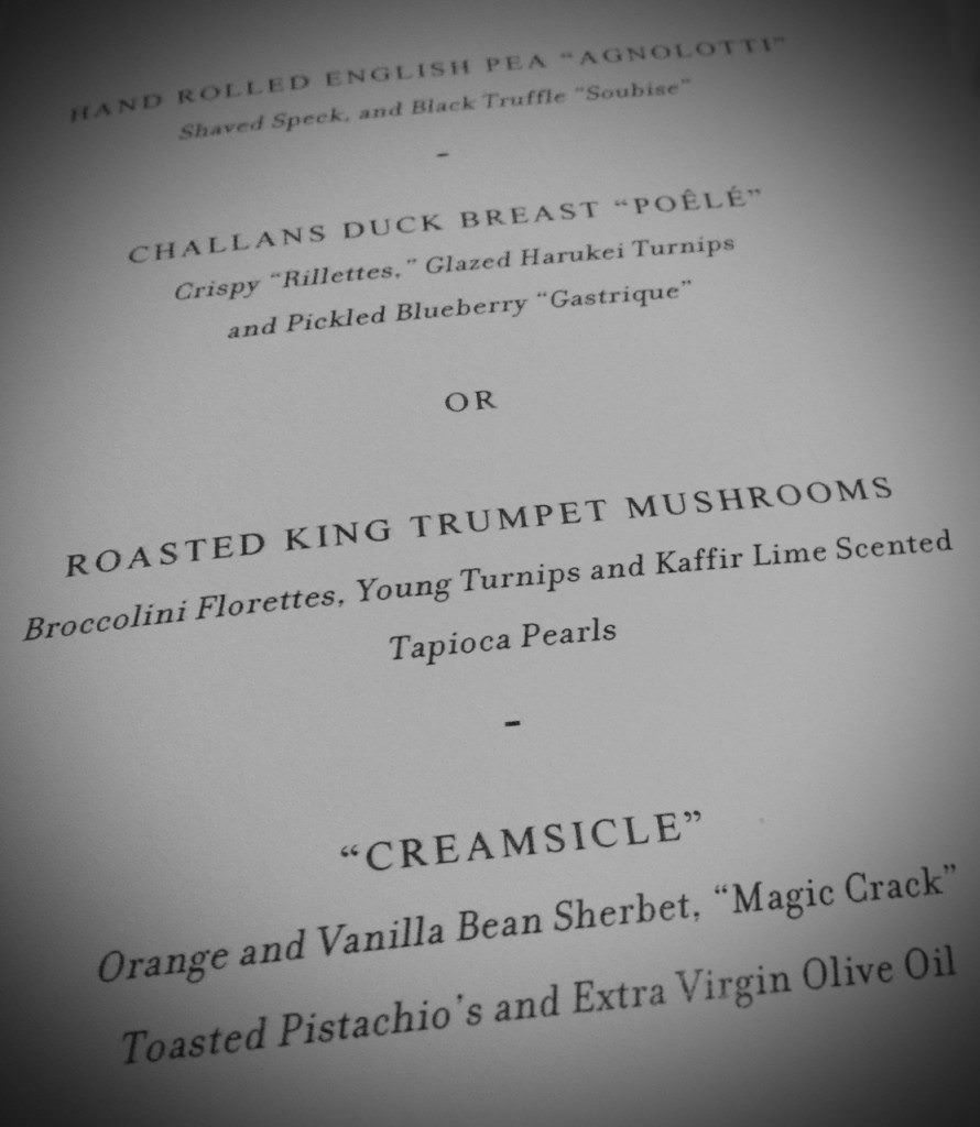 Thomas Keller menu in the main dining room. © 2015 Ralph Grizzle