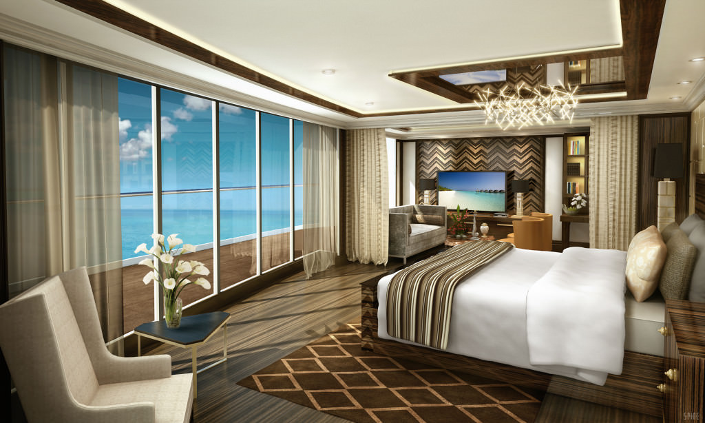 An artist's rendering of the bedroom in the sprawling Regent Suite. Rendering courtesy of Regent Seven Seas.