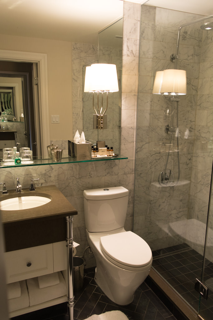 Bathrooms are brand-new and modernly-styled. Photo © 2015 Aaron Saunders
