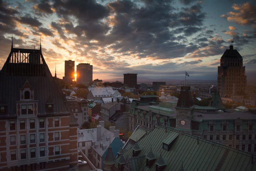Room With A View. Sunset over Quebec City on Thursday, October 15, 2015. Photo © 2015 Aaron Saunders