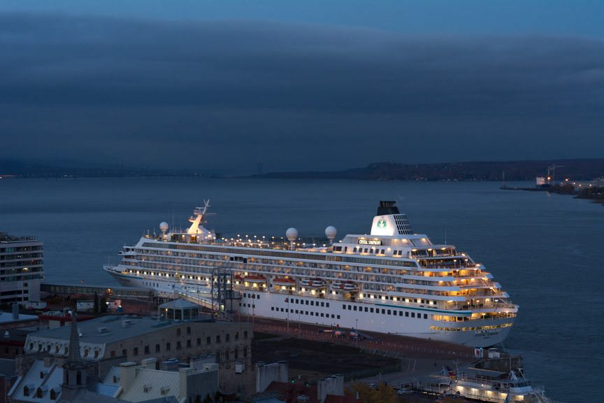 ...and the cruise terminal! Shown here is Crystal Cruises' Crystal Symphony. Photo © 2015 Aaron Saunders