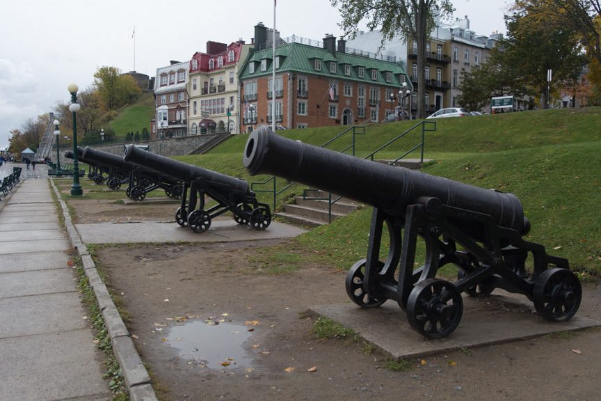 "Cannons still ""guard"" the walled city of Old Quebec - one of only two such fortified cities remaining in North America. Photo © 2015 Aaron Saunders"