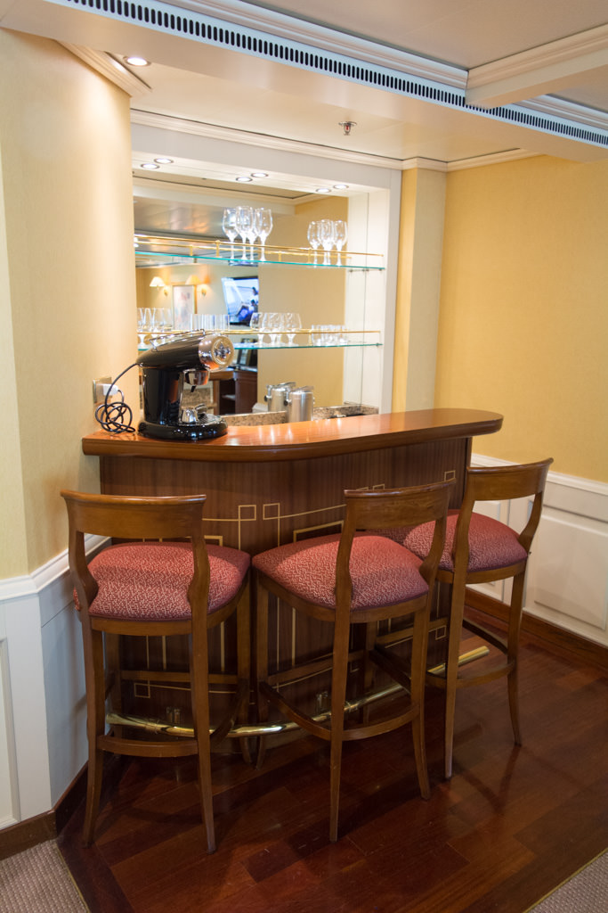 Step right up to your very own bar in Grand Suite 601 aboard the Silver Whisper. Photo © 2015 Aaron Saunders