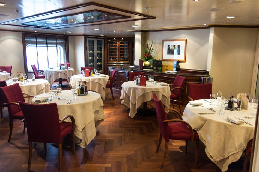 Le Champagne, the only Relais & Chateaux restaurant at sea, is located on Deck 7 aboard Silver Whisper. Photo © 2015 Aaron Saunders