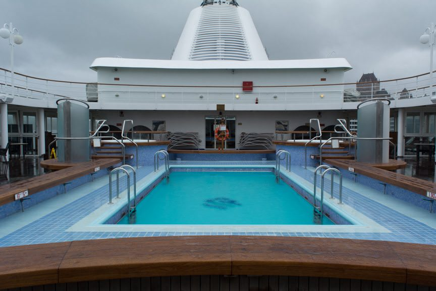 Silver Whisper's pool deck may not be getting a lot of use today...Photo © 2015 Aaron Saunders