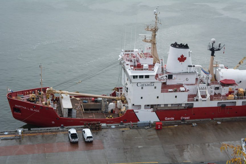 A Canadian Coast Guard ship at her berth on the St. Lawrence River today...Photo © 2015 Aaron Saunders