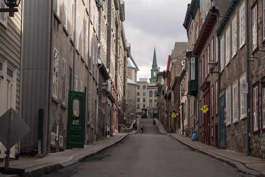 You can spend hours, even on a chilly day like today, wandering the winding streets of Vieux Quebec. Photo © 2015 Aaron Saunders
