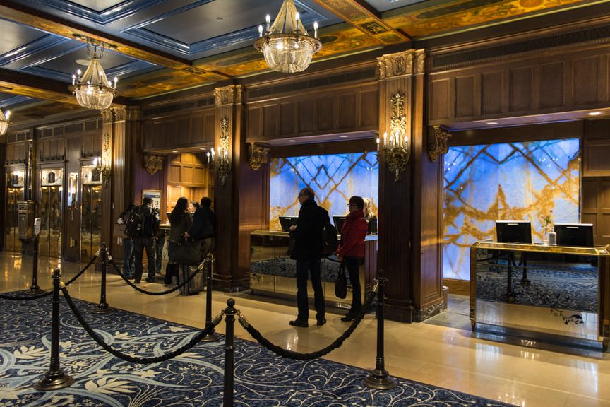 Back in the warmth of the Fairmont Chateau Frontenac; shown here are the Reception Desks. Photo © 2015 Aaron Saunders