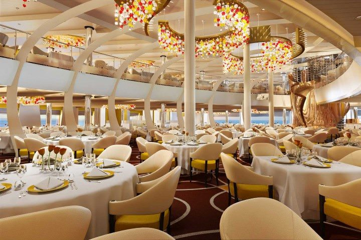 Koningsdam will sport a brand-new design scheme and style for her interior decor. Her dining room, however, is reminiscent of a certain other ship. Illustration courtesy of Holland America Line
