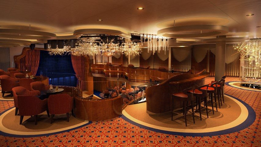 Classy Space: the new two-story Queen's Lounge will offer live music and dancing. Illustration courtesy of Holland America Line