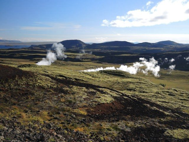 A geothermal steam power plant generating electricity for Reykjavik