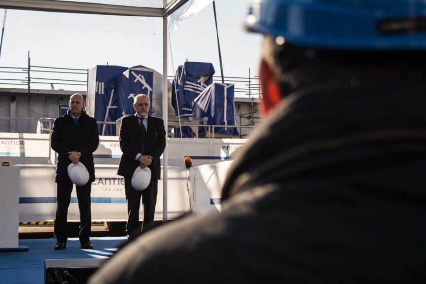 Presiding over today's keel laying ceremonies in Genoa were Silversea CEO Enzo Visone, left, and Fincantieri General Manager. Photo © 2015 Aaron Saunders