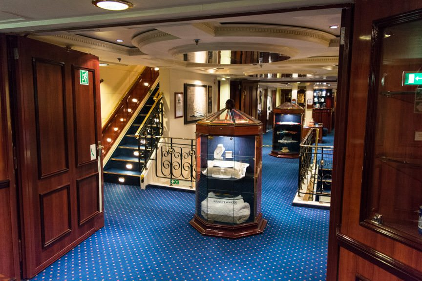 The Gallery gives way to the small Reception Area aboard Royal Clipper. Photo © 2015 Aaron Saunders