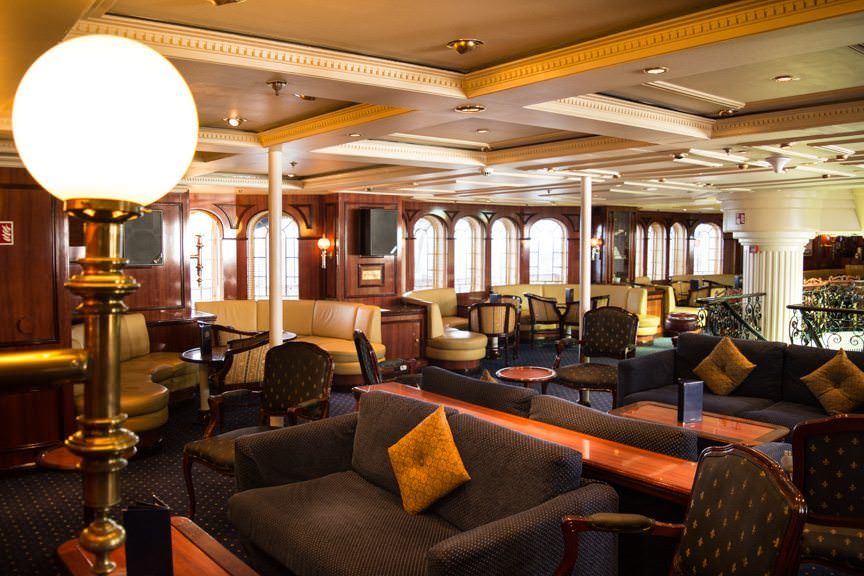 The cozy and inviting Piano Bar aboard Royal Clipper. Photo © 2015 Aaron Saunders