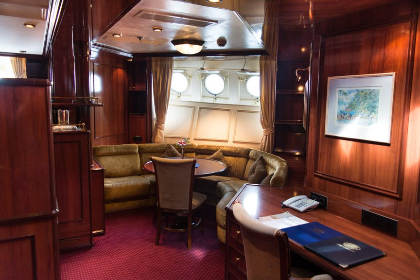 If you want the ultimate in sailing luxury, chose one of Royal Clipper's two Owner's Suites. Owner's Suite 002 is shown here. Photo © 2015 Aaron Saunders