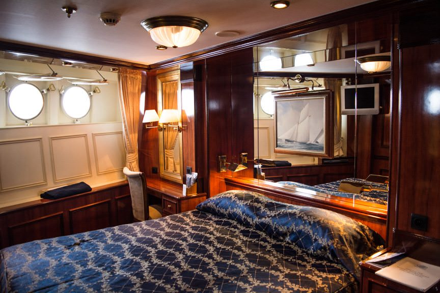 Owner's Suites aboard Royal Clipper feature a dedicated bedroom...Photo © 2015 Aaron Saunders