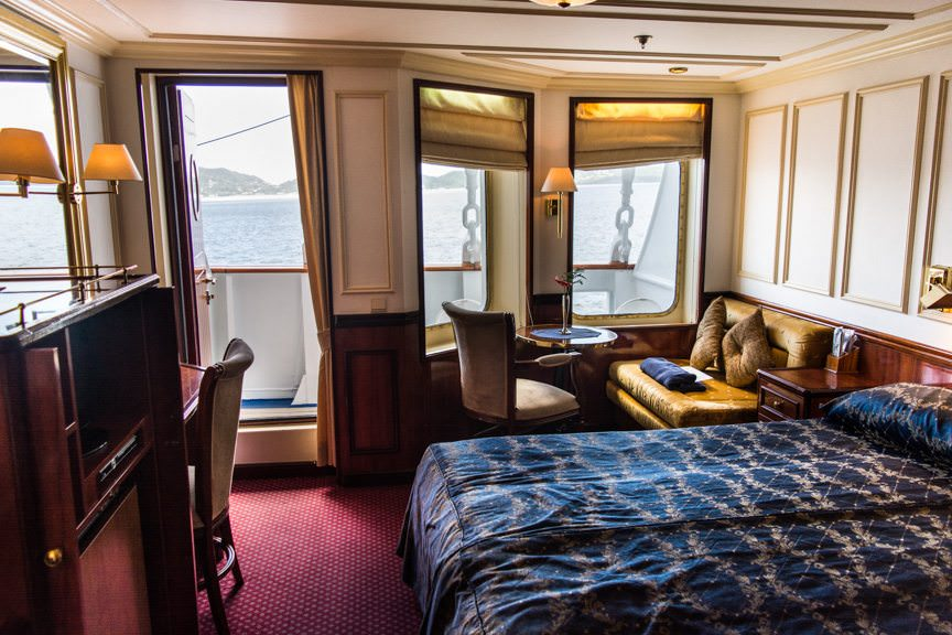 Deluxe Suite 303, starboard, features a private balcony. Photo © 2015 Aaron Saunders