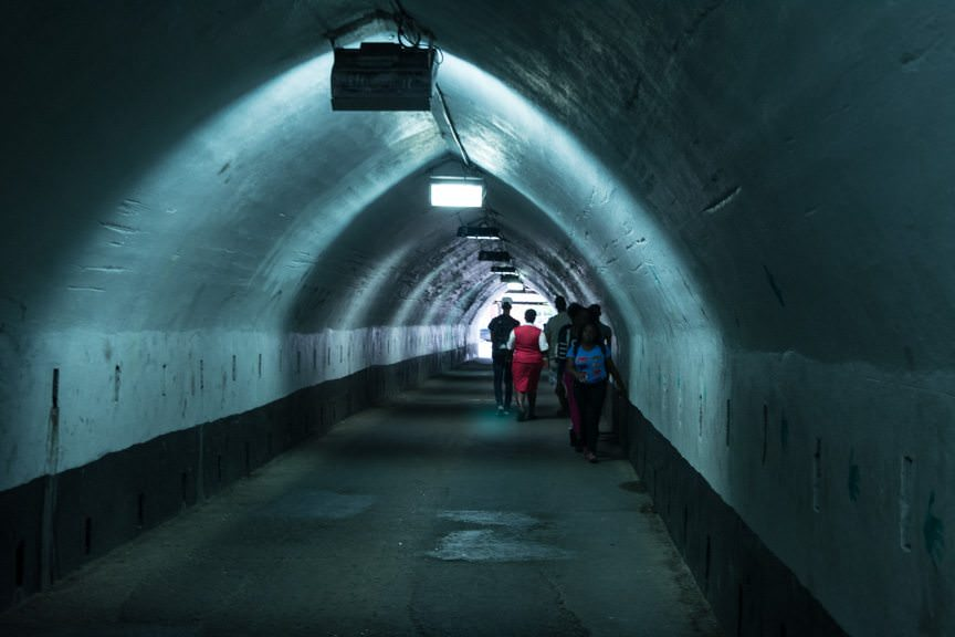 ...simply walk through this sketchy, dual traffic-pedestrian tunnel! Photo © 2015 Aaron Saunders