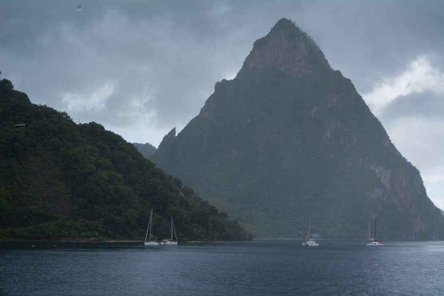 We arrived at Soufriere, off the famous Pitons of St. Lucia. Photo © 2015 Aaron Saunders
