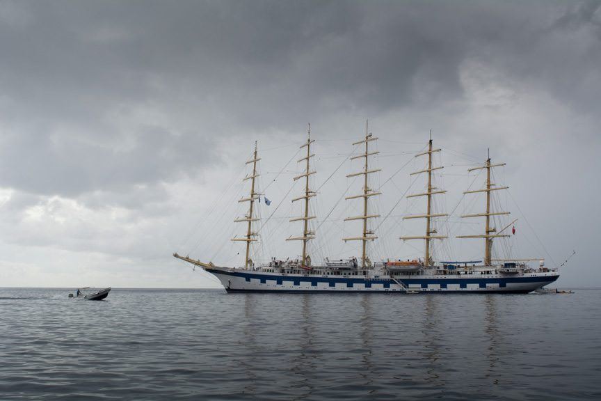 Royal Clipper at anchor this afternoon off Soufriere, under ominous skies. Photo © 2015 Aaron Saunders