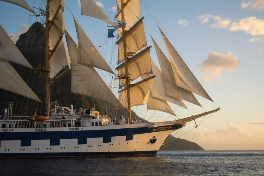 What followed was a stunning race out onto the ocean as we trailed Royal Clipper under full sail. Photo © 2015 Aaron Saunders