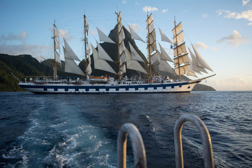 Royal Clipper, as seen from our tender in St. Lucia. Photo © 2015 Aaron Saunders