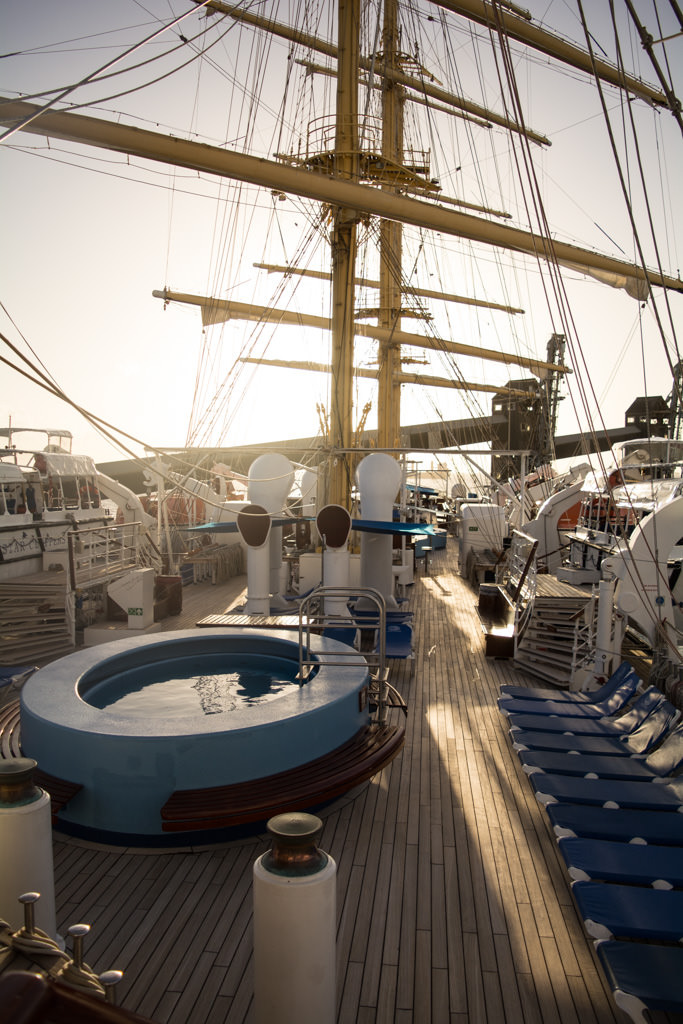 On-deck at sunset, as the hour of sailing approaches. Photo © 2015 Aaron Saunders