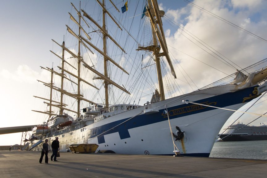 Star Clipper's Royal Clipper in Bridgetown, Barbados on December 12, 2015. She is the only five-masted, full-rigged sailing ship to be launched since the Preussen of 1902. Photo © 2015 Aaron Saunders