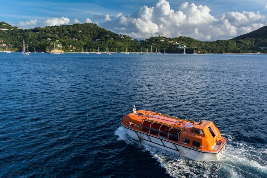 Tender operations in Bequia. It's hard to believe Christmas is just nine days away. Photo © 2015 Aaron Saunders