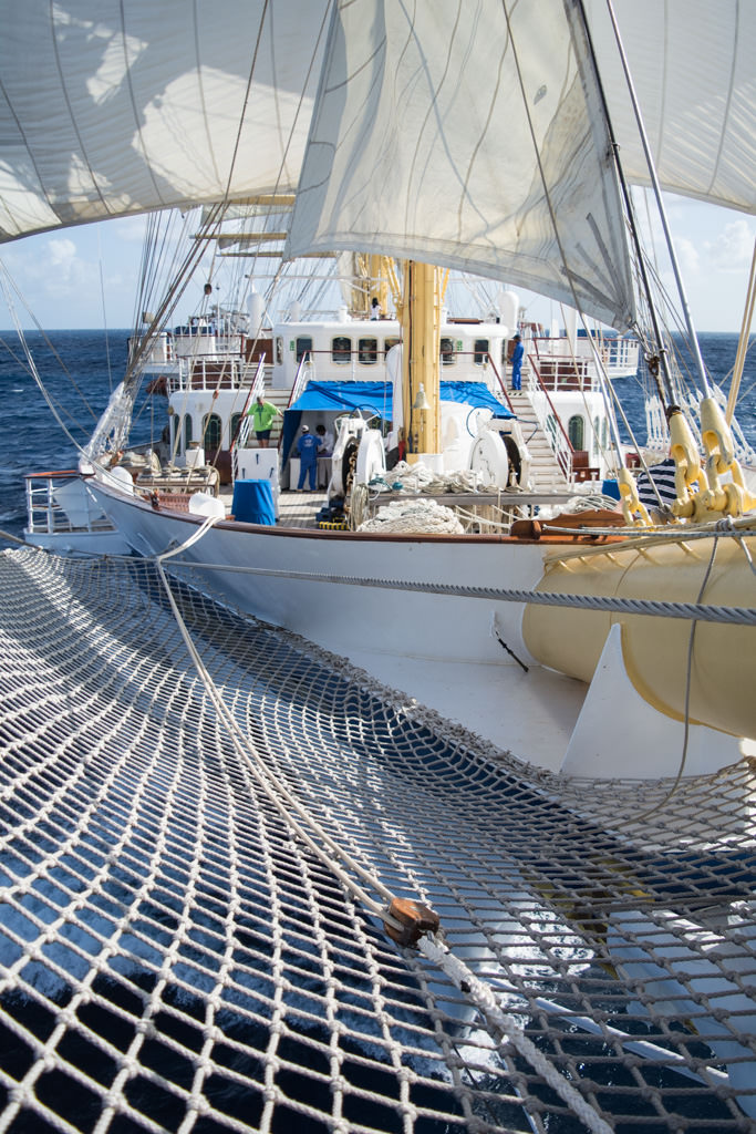 ...as seen from my perch on the netting at the bowsprit. Photo © 2015 Aaron Saunders