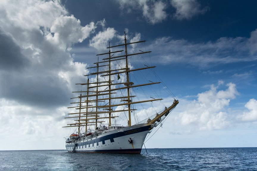 The beautiful Royal Clipper at anchor! Photo © 2015 Aaron Saunders