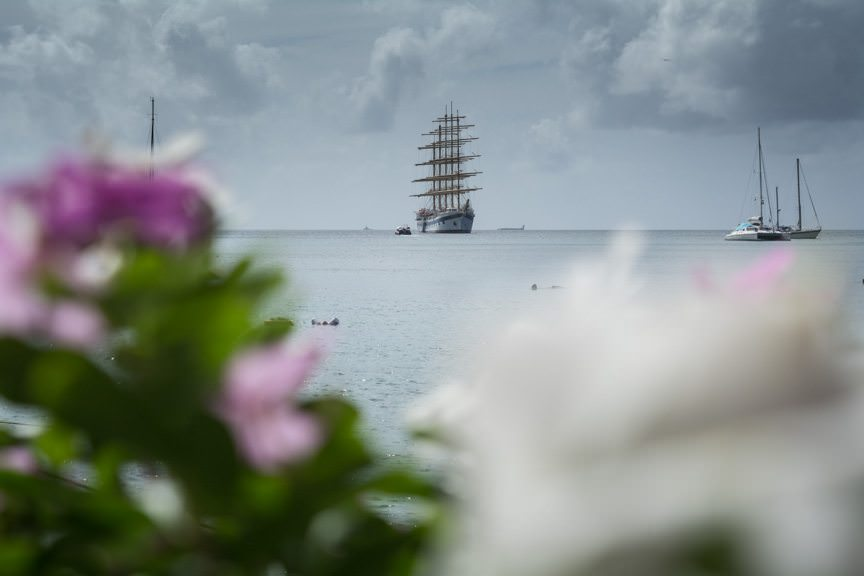 Royal Clipper at anchor off Union Island, Grenadines. Photo © 2015 Aaron Saunders