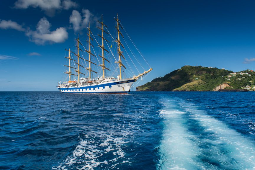 Royal Clipper is shown here at anchor in Kingstown, St. Vincent. Photo © 2015 Aaron Saunders