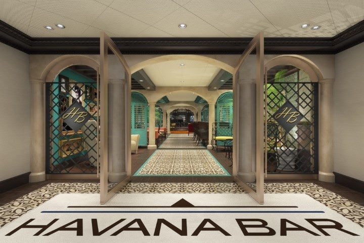 The Havana Bar brings a slice of Cuba to Carnival Vista. Rendering courtesy of Carnival Cruise Lines.