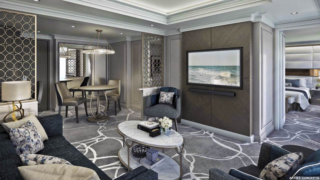 A rendering of the spacious Owner's Suite aboard Crystal Esprit. Illustration courtesy of Crystal Cruises.