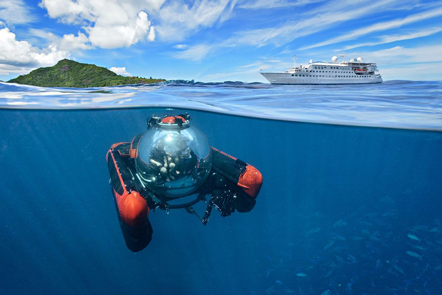 Meet Crystal Esprit - and her own submersible craft. Photo-illustration courtesy of Crystal Cruises