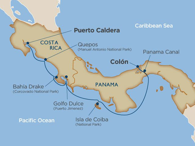 Our itinerary aboard Star Breeze will take us from Puerto Caldera, Costa Rica to Colon, Panama. Illustration courtesy of Windstar Cruises