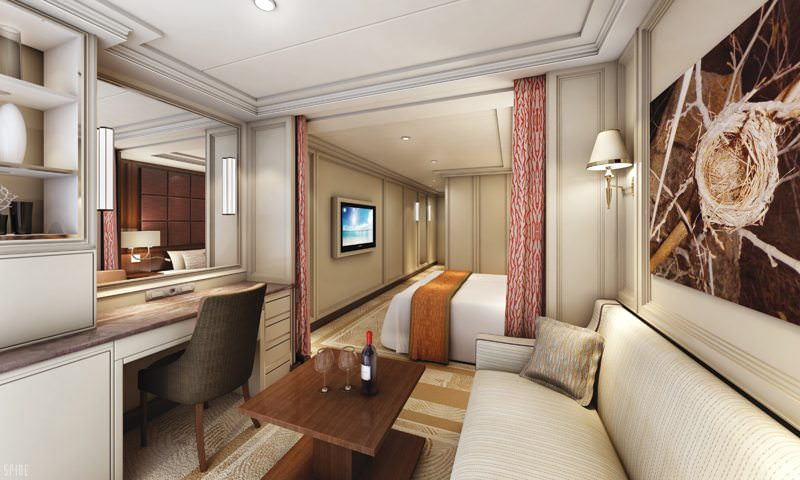 Standard suites aboard Seven Seas Explorer are stylish and comfortable. Rendering courtesy of Regent Seven Seas